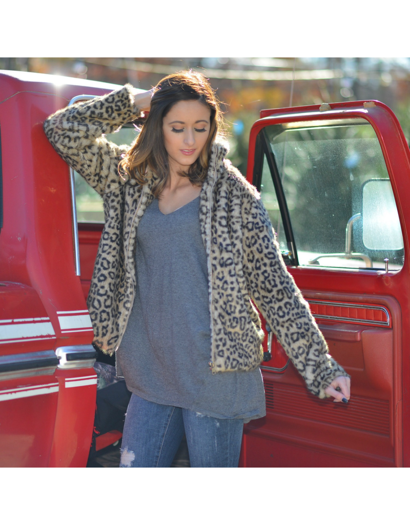 Outerwear Wild About You Leopard Fur Coat