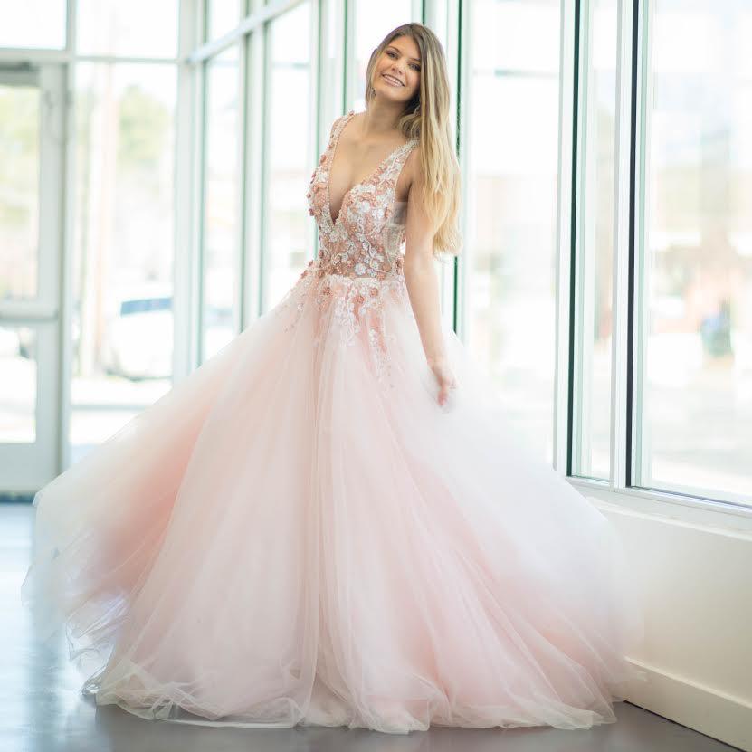 Dresses 22 Jovani Blushing Floral Formal Dress