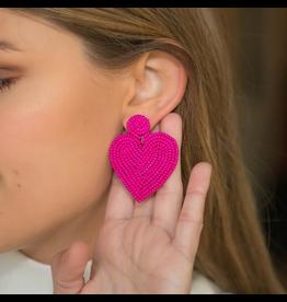 Jewelry 34 Hot Pink Heart Beaded Earrings