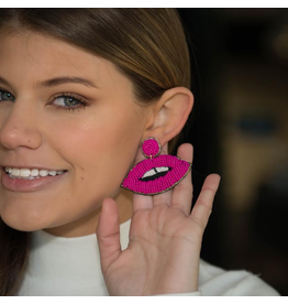 Jewelry 34 Hot Pink Lip Beaded Earrings