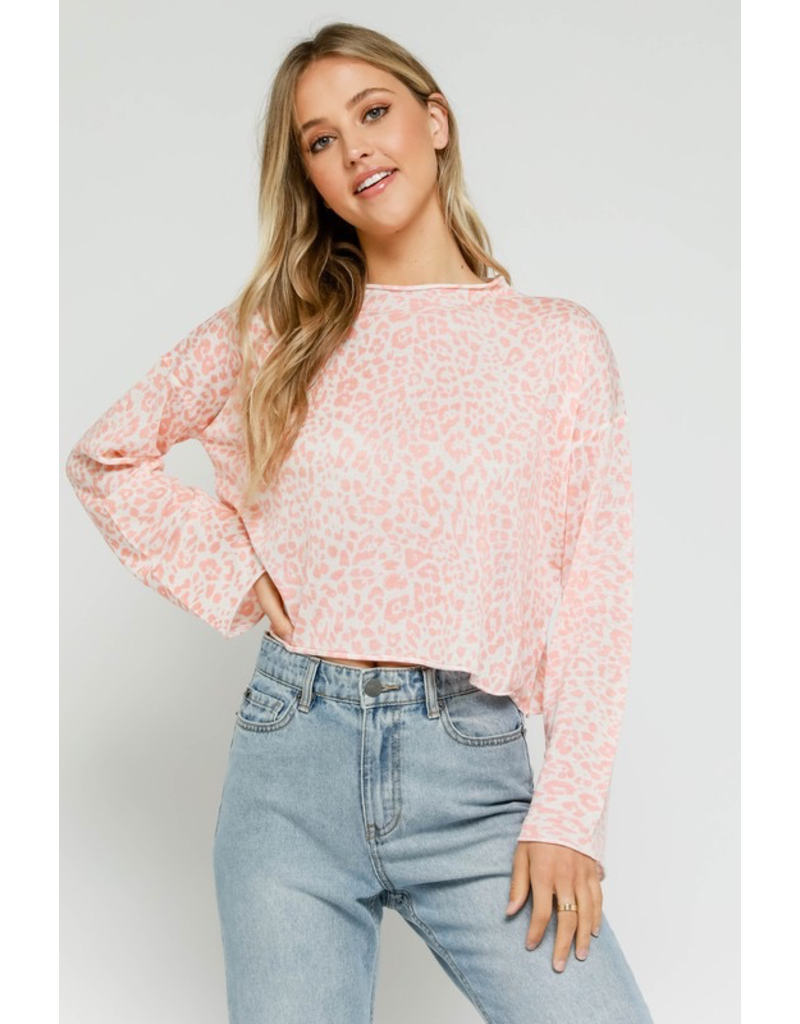 Tops 66 Pink Leopard Mock Neck Sweater