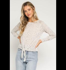 Tops 66 Pink Leopard Tie Front Sweater
