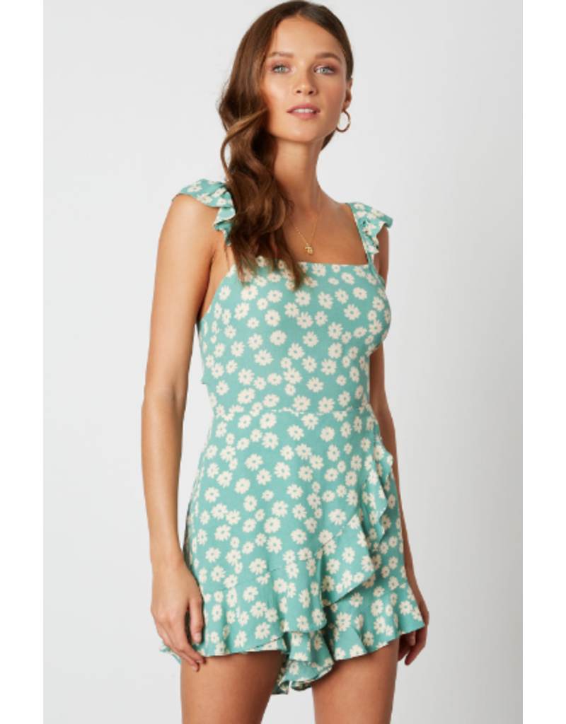 Rompers 48 Spring Green Floral Ruffle Romper