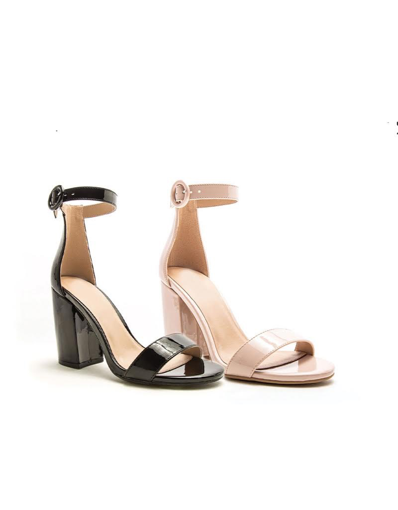 Shoes 54 Blush Nude Patent Block Heels