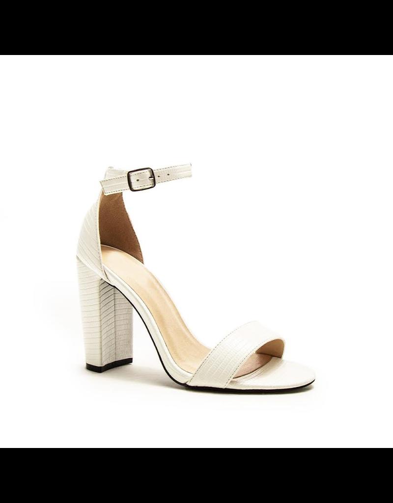 Shoes 54 White Croc Texture Block Heels