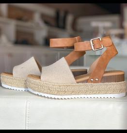 Shoes 54 Canvas and Tan Espadrille Sandal