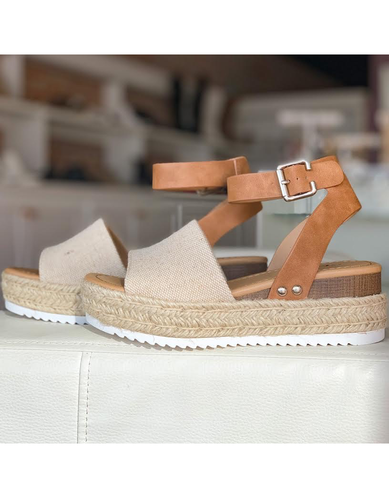 Shoes 54 Canvas and Tan Espadrille Sandal