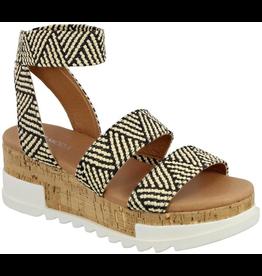 Shoes 54 Two Tone Raffia Cork Black/Tan Sandal