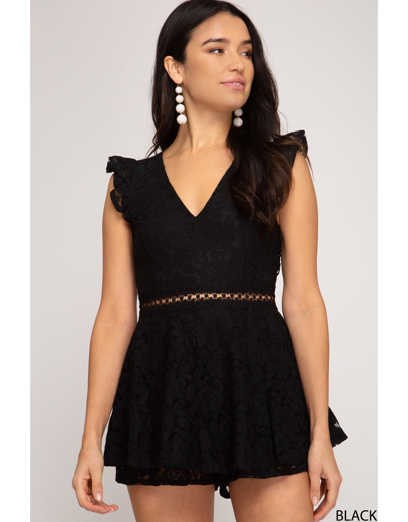 Rompers 48 Hello Lovely Lace Open Back Black Romper