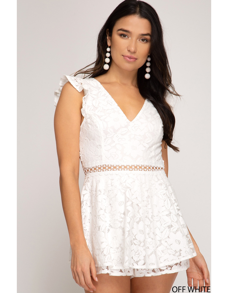 Rompers 48 Hello Lovely Lace White Open Back Romper