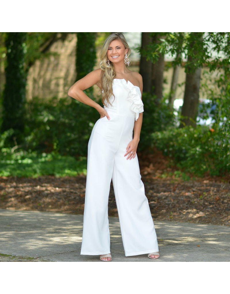 Jumpsuit Ruffle For The Win White Jumpsuit