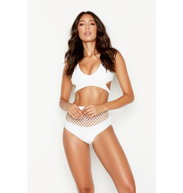 Swimsuits Mesh Around White Bikini High Waisted Bottoms