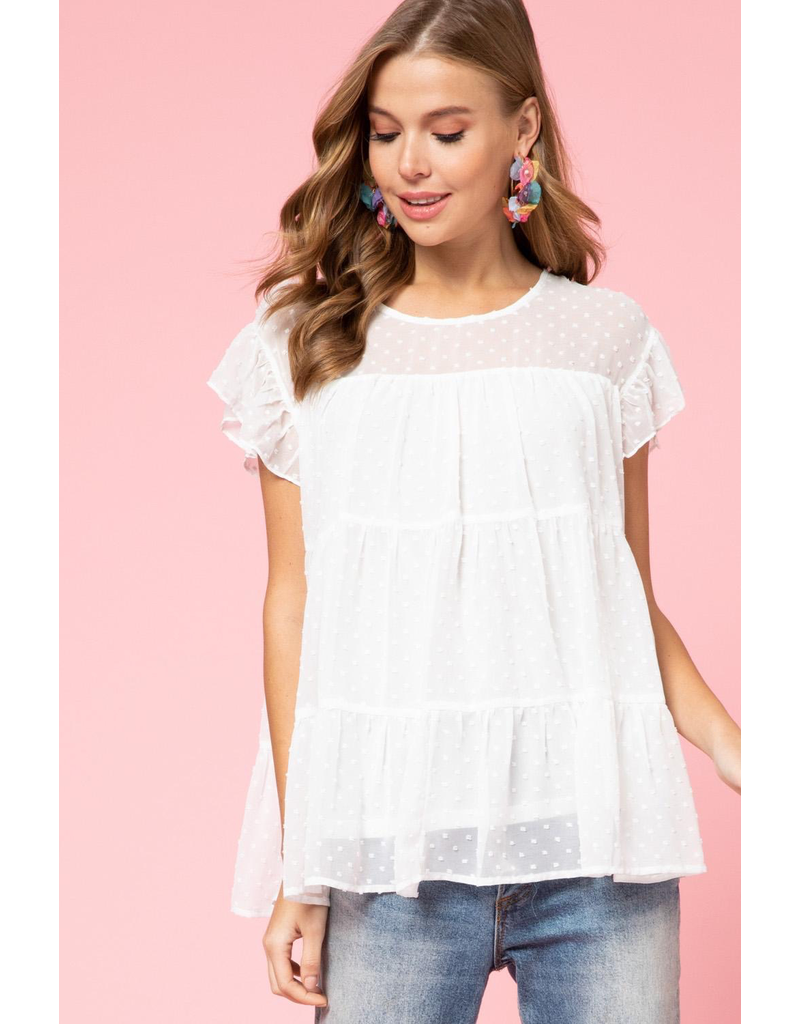 Tops 66 Spring Swiss Dot White Party Top