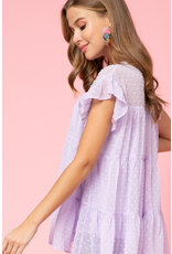 Tops 66 Spring Swiss Dot Lavender Party Top