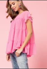 Tops 66 Pop Of Hot Pink Swiss Dot Top