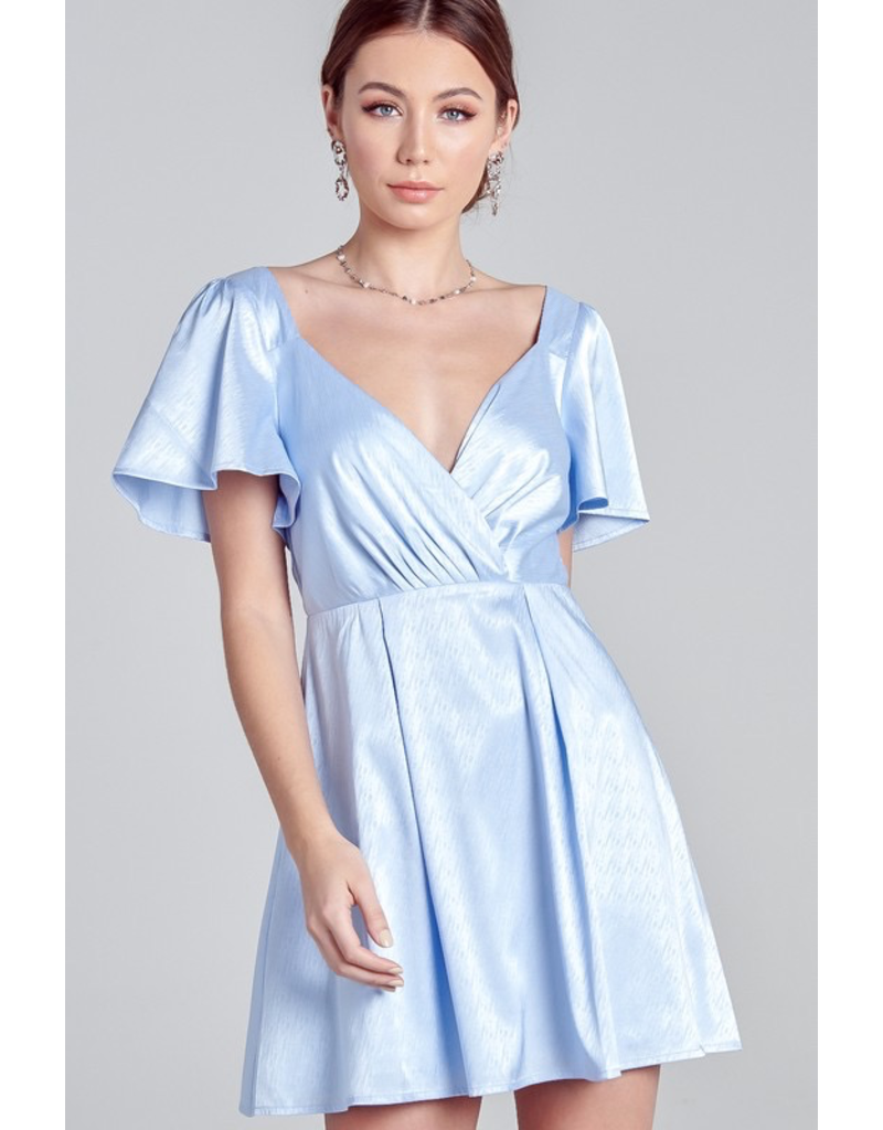 Dresses 22 Blue Sky Satin Fit and Flare Dress