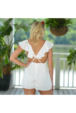 Rompers 48 Ruffles and Romance Open Back White Romper