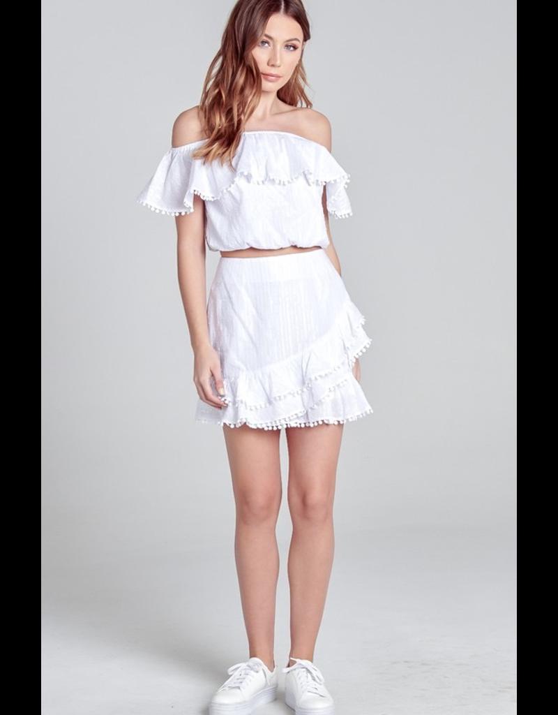 Skirts 62 White Pom Pom Party Skirt