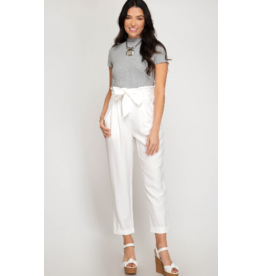 Pants 46 High Waisted White Paper Bag Tie Front Pants