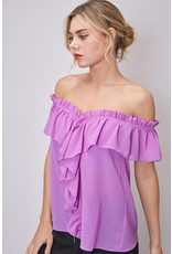 Tops 66 Live It Up Lavender Off Shoulder Ruffle Top
