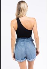 Tops 66 Set On You One Shoulder Black Bodysuit