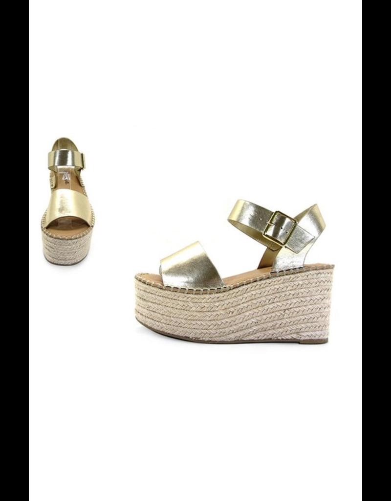 Shoes 54 Spring In My Stride Platform Gold Espadrille