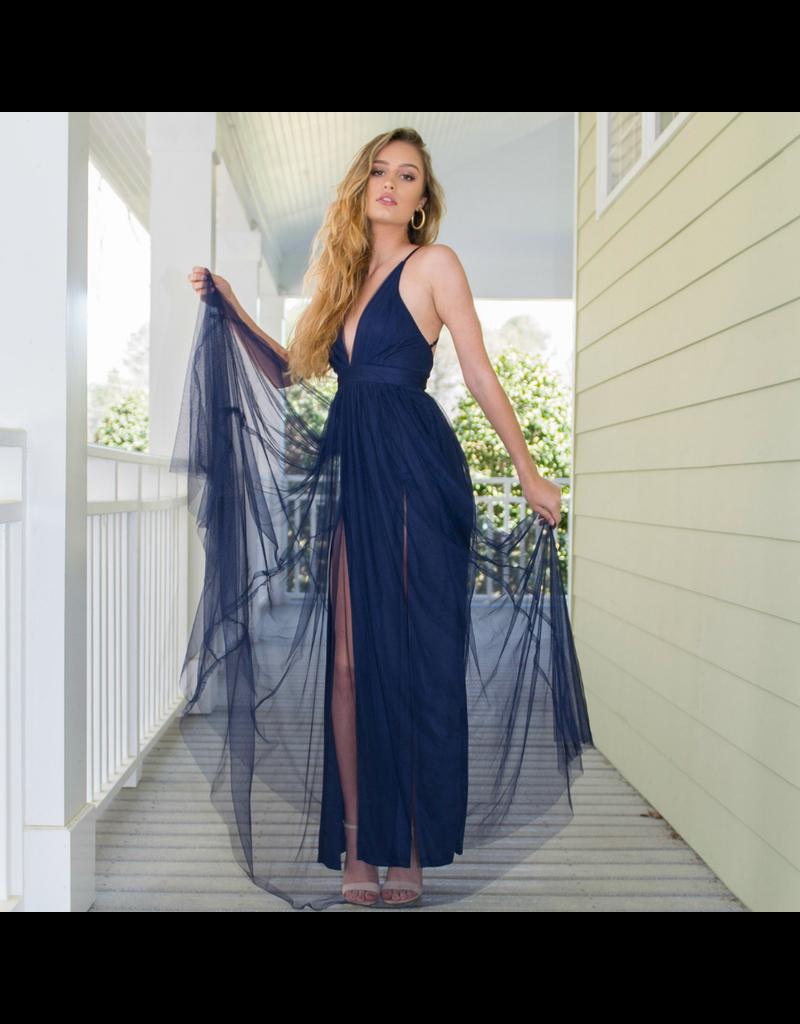 Formalwear Swept Away Navy Tulle Dress