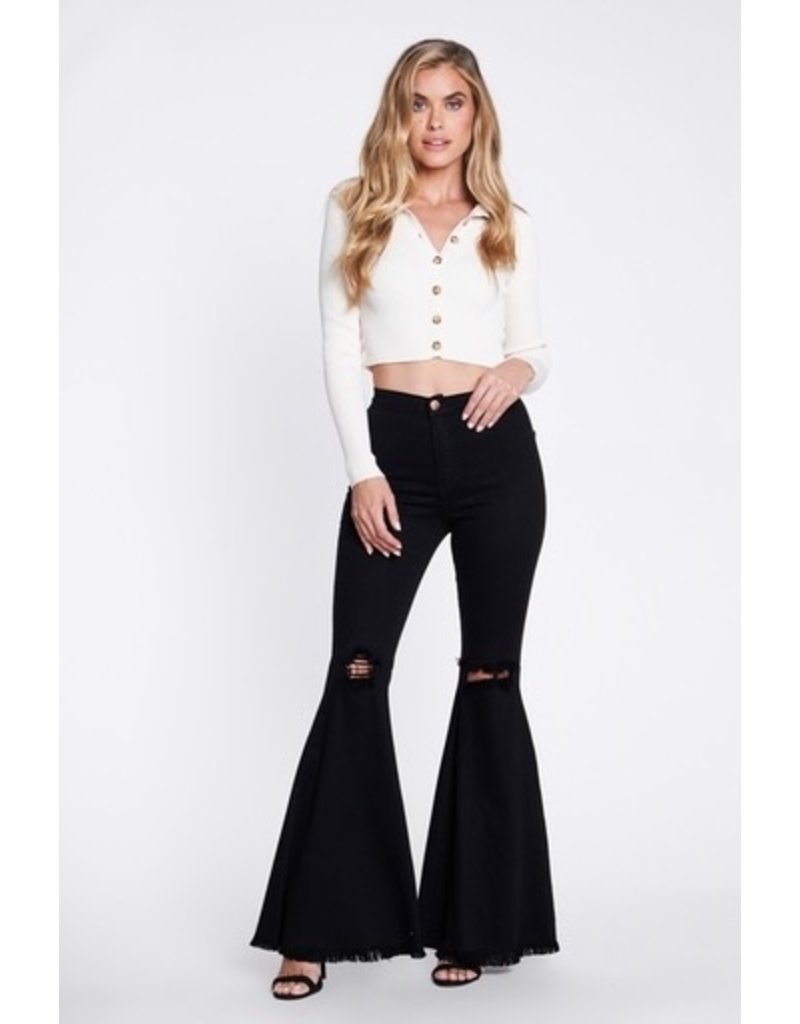 Pants 46 High Waist Ripped Knee Black Flares
