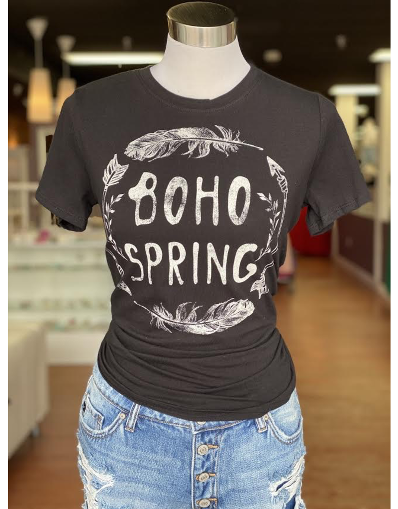 Tops 66 Boho Spring Black Graphic Tee