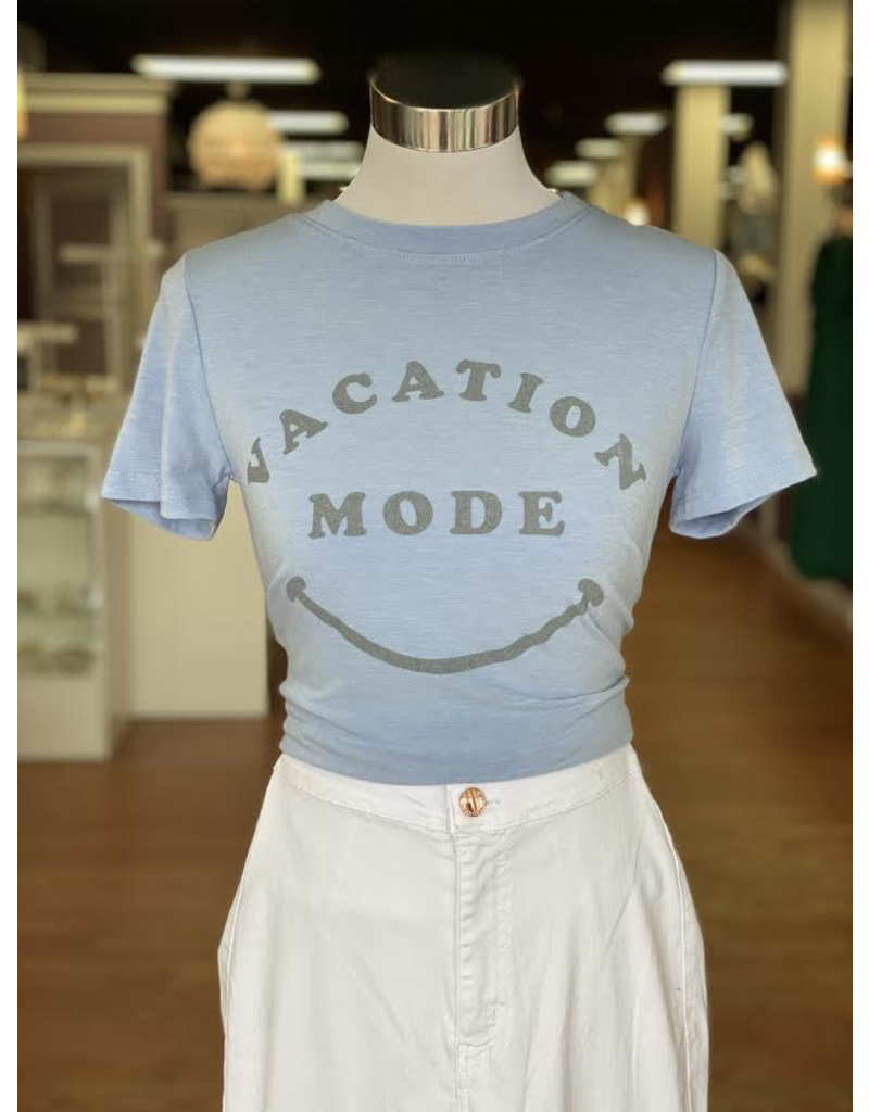 Tops 66 Vacation Mode Light Blue/Grey Graphic Tee