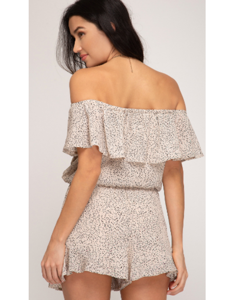 Rompers 48 All Eyes On You Taupe Off Shoulder Romper