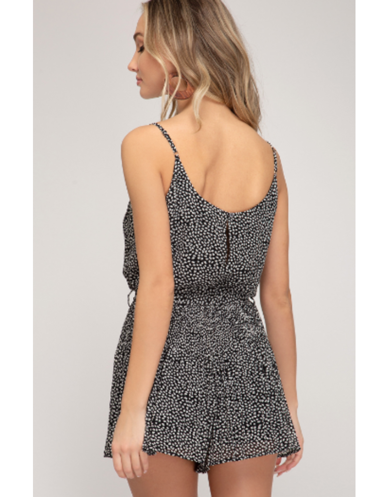 Rompers 48 Pretty Pleats Spotted Black and White Romper