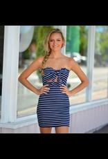 Dresses 22 Navy Baby Stripe Tie Front Dress