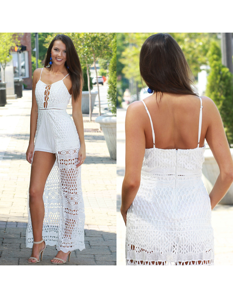 Rompers 48 Laced Up White Summer Maxi Romper