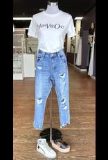 Pants 46 Girl Friend Distressed Medium Wash Denim