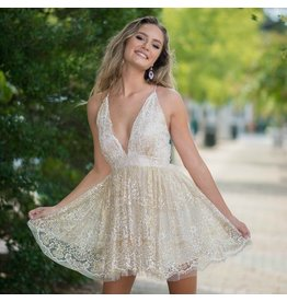 Formalwear Glitter Floral Ivory/Gold Formal Dress