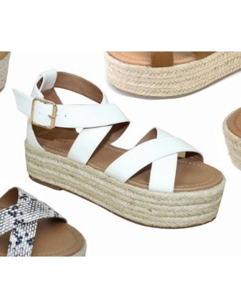 Shoes 54 White Summer Platform Espadrilles