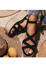 Shoes 54 Strappy Summer Black Platfrom Espadrilles