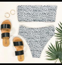 Swimsuits Spotted Black & White Bikini Top