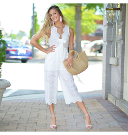 Jumpsuit Picnic With Me White Eyelet Lace Jumpsuit