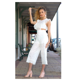 Jumpsuit Picnic In The Park White Eyelet Jumpsuit