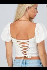 Tops 66 Puff Sleeve Tie Back Crop White Top
