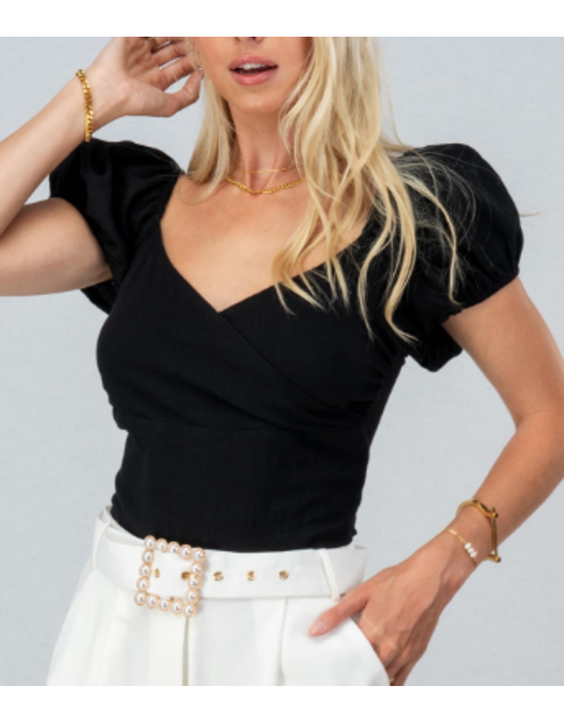 Default Puff Sleeve Tie Back Black Crop Top