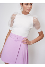 Tops 66 All Smiles Puff Organza Sleeve White Top