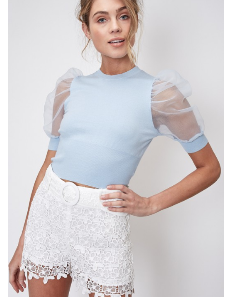 Tops 66 All Smiles Puff Organza Sleeve Light Blue Top