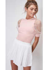 Tops 66 All Smiles Puff Organza Sleeve Blush Pink Top