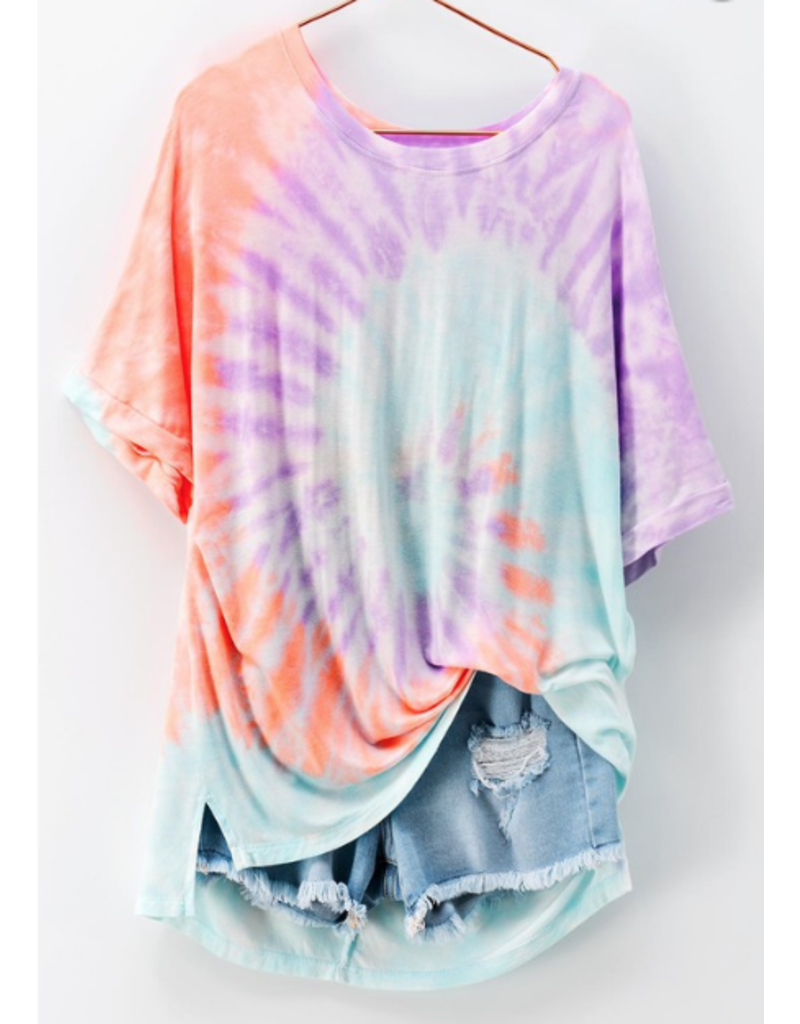Tops 66 Cotton Candy Swirl Tie Dye Purple Multi Top