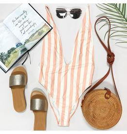 Swimsuits Day On The Beach Deep V Coral Swim