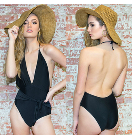 Swimsuits Catching Rays Front Tie Black One Piece
