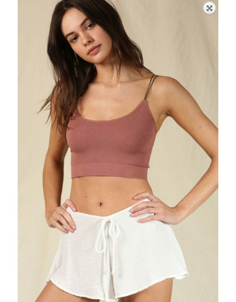 Tops 66 Ribbed Summer Strappy Dusty Rose Bra Top